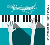 hands on piano keyboard with... | Shutterstock .eps vector #404619379
