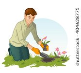 Young Man Who Plants Flower In...