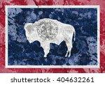 Usa And Wyoming State Flag...