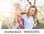 Two Lesbian Girls At Park In...