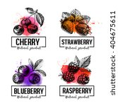eco food labels set. watercolor ... | Shutterstock .eps vector #404675611