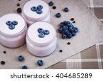 Yogurt With Blueberries In Jar...