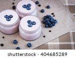 Yogurt With Blueberries In Jar...