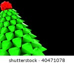 abstract 3d illustration of stulized christmas tree over black background - stock photo