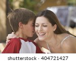 mother and her young son  close ... | Shutterstock . vector #404721427
