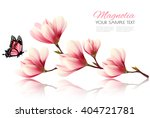 Beautiful Magnolia Branch With...