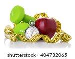 two dumbbells  red apple ... | Shutterstock . vector #404732065