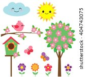 vector set of birds  flowers ... | Shutterstock .eps vector #404743075