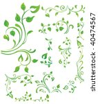 green floral elements | Shutterstock .eps vector #40474567