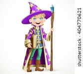 cute boy dressed as a wizard... | Shutterstock .eps vector #404770621