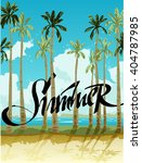 summer vector poster with palms | Shutterstock .eps vector #404787985