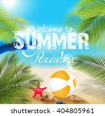 summer beach with beach... | Shutterstock . vector #404805961