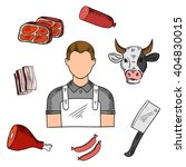 butcher with meat products... | Shutterstock .eps vector #404830015