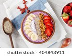 smoothie bowl with chia seeds ... | Shutterstock . vector #404843911