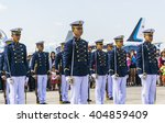 Small photo of Bangkok,Thailand - 10 January 2016 :Air cadet show fancy drill with sword and hold to salute their commander at Don muang international airport