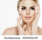 beautiful woman face close up... | Shutterstock . vector #404934145