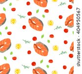 seamless pattern with salmon... | Shutterstock .eps vector #404950567
