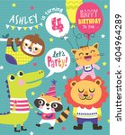 4th birthday party invitation... | Shutterstock .eps vector #404964289