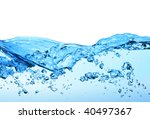 close-up of water wave against white background - stock photo