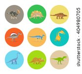 Dinosaurs Flat Colorful Icons....