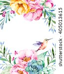beautiful watercolor card with...   Shutterstock . vector #405013615