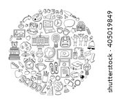 back to school doodle set.... | Shutterstock .eps vector #405019849