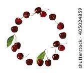 watercolor cherries circle .... | Shutterstock . vector #405024859