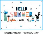 cute hello summer poster with... | Shutterstock .eps vector #405027229