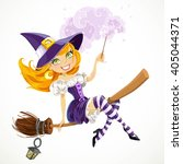 cute redhead witch with magic... | Shutterstock .eps vector #405044371