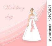 beautiful blonde bride in white ... | Shutterstock .eps vector #405073879