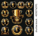 trophy and awards golden badges ... | Shutterstock .eps vector #405076591