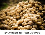 Many Fresh Organic Potatoes In...