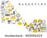 marketing team on white... | Shutterstock .eps vector #405096319