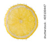 lemon slice with bubbles on a...   Shutterstock . vector #405100447