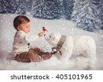 Little Boy In White Sweater...