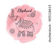 Line Doodle Elephant On Pink...