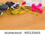 fitness equipment  a healthy... | Shutterstock . vector #405135601