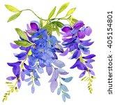 Watercolor Lilac Blue Flowers...