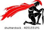 spartan kneeling meditation | Shutterstock .eps vector #405155191