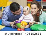 with mom and dad learning to... | Shutterstock . vector #405162691