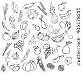 vector sketch set contour line... | Shutterstock .eps vector #405178315