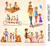 Family Retro Cartoon Set With...