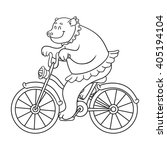 bear riding on a bicycle  ... | Shutterstock .eps vector #405194104