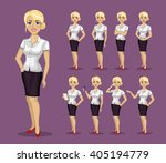 woman in business style. set of ... | Shutterstock .eps vector #405194779