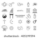 set of philosophy and religion...   Shutterstock .eps vector #405199594