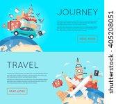 world travel. planning summer... | Shutterstock .eps vector #405208051