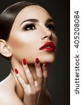 beautiful woman portrait ... | Shutterstock . vector #405208084