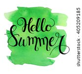 hello summer lettering on green ... | Shutterstock .eps vector #405209185