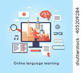 on line training courses.... | Shutterstock .eps vector #405209284