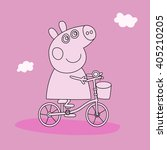 pepa pig on a bicycle line | Shutterstock .eps vector #405210205